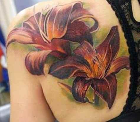 Tattoo flower on the shoulder