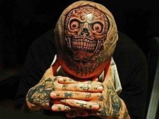 Tattoo on skull