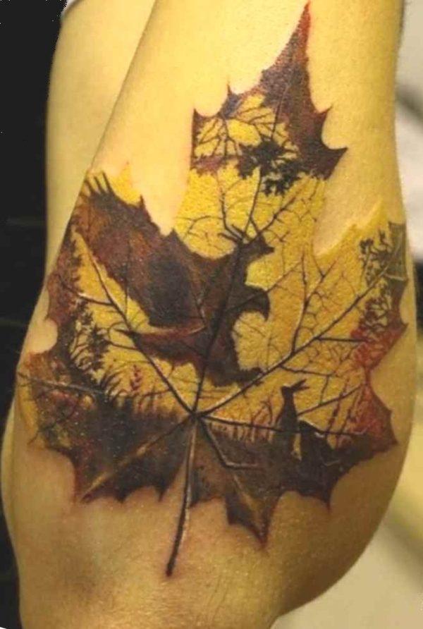 Sick tattoo idea autumn leaf