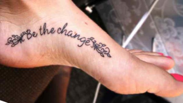 Simple foot tattoo quote
