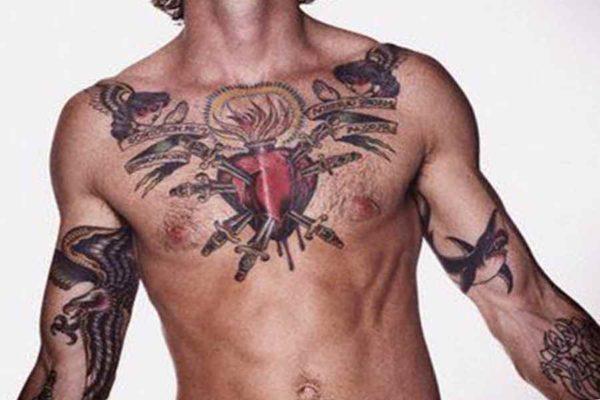 The idea for a male breast tattoo