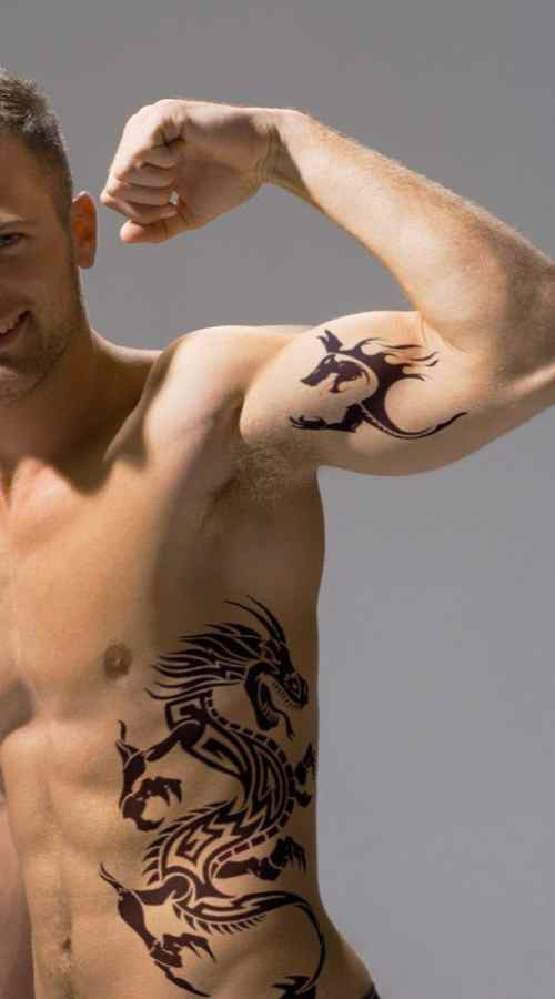 The idea for a male tattoo on the ribs