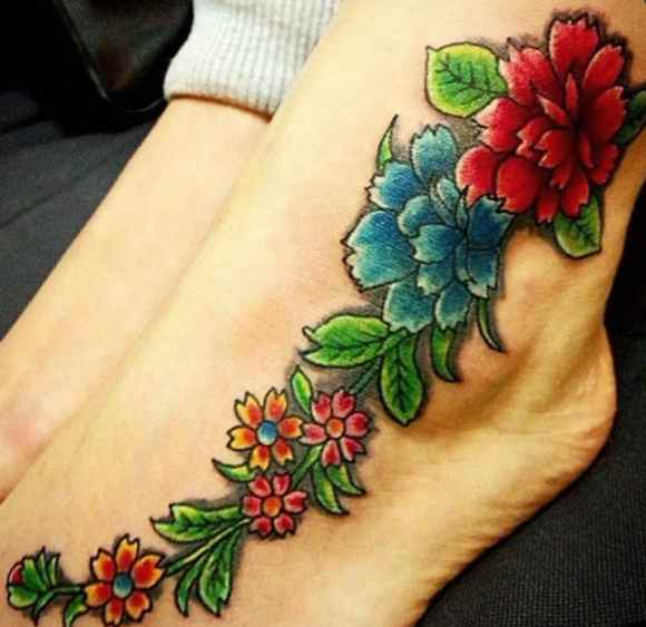Flower tattoo for the foot