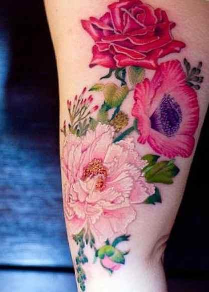 Flower tattoo for upper arm