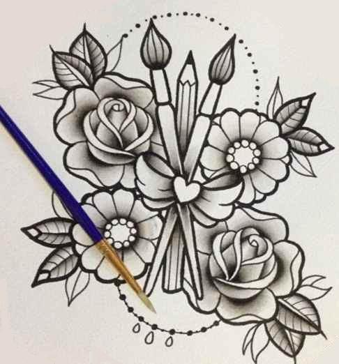 Flower tattoo designs in pencil