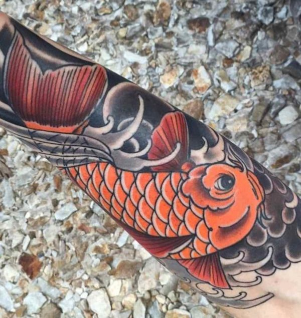 Koi fish dragon head tattoo