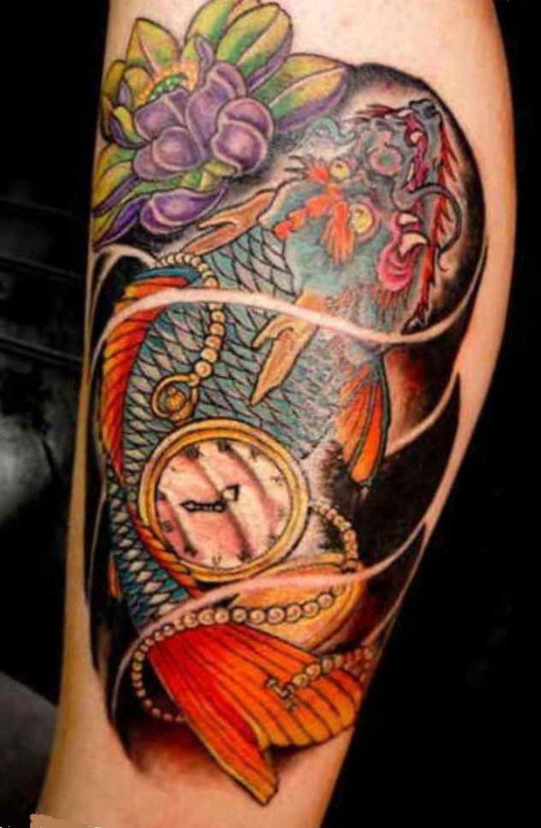 Koi fish tattoo half sleeve drawing
