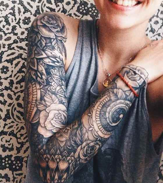 Sleeve tattoo for girl