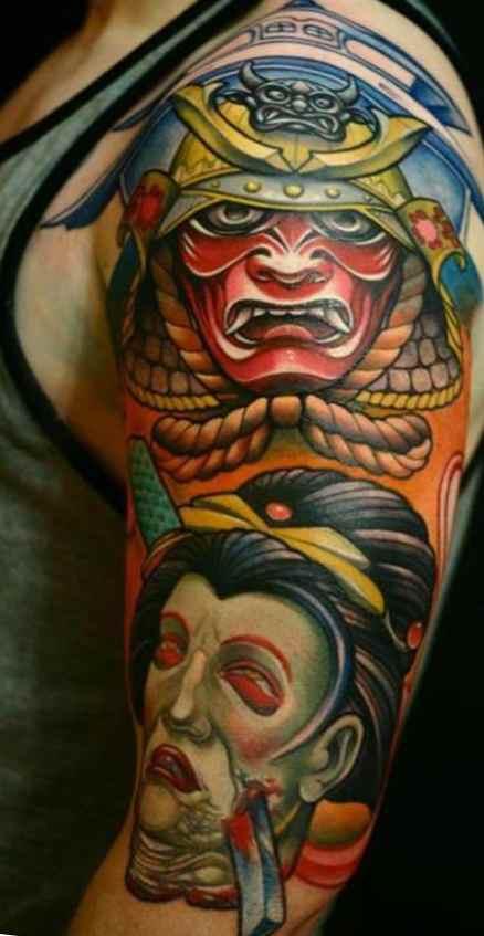Colour sleeve tattoos