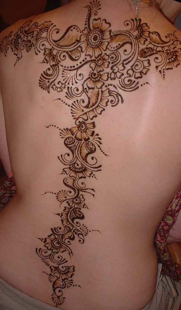 Henna tattoo designs at the back