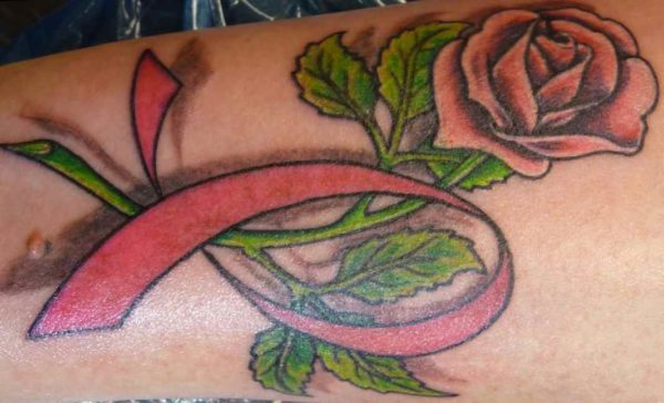 Breast cancer tattoos with flowers