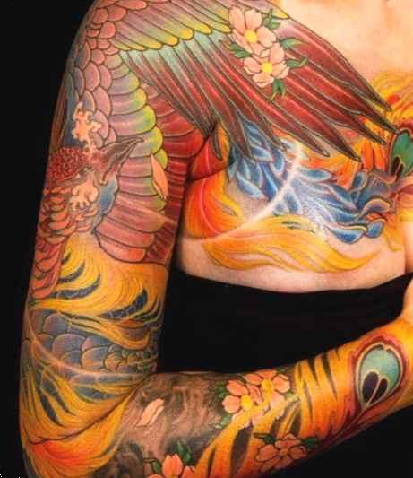 Flowers tattoo sleeve for women