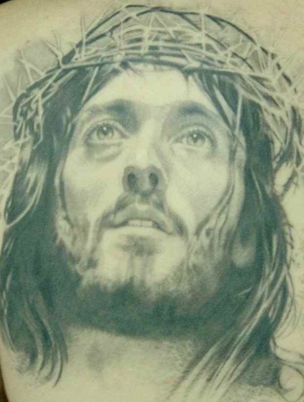 Jesus Face Tattoo with Thorns