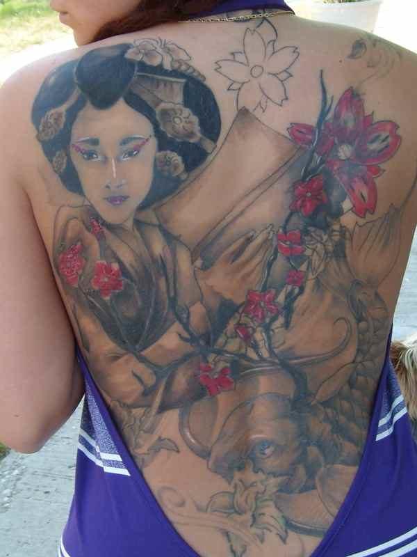 Back geisha tattoo