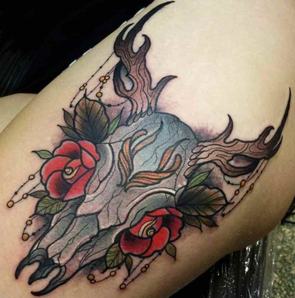 Bull ankle tattoo