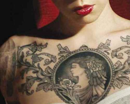 Chest tattoos on females