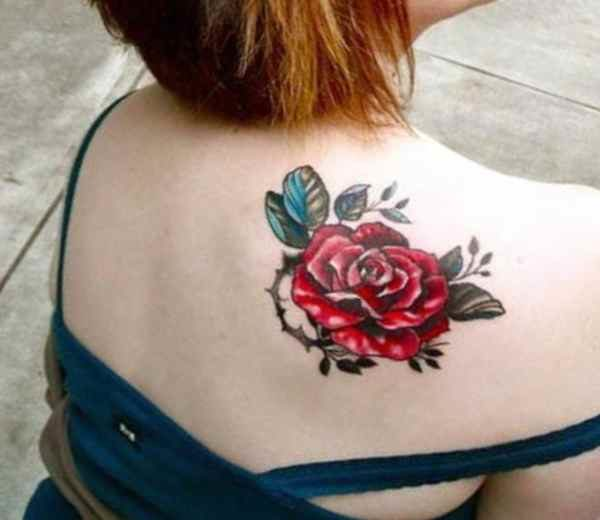 Cool red flowers back tattoo
