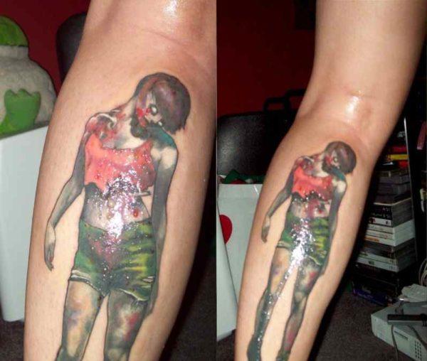 Cute zombie girl calf tattoo