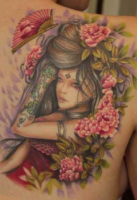 Flowers female tattoo idea