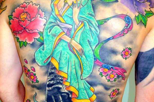 Full back geisha tattoo