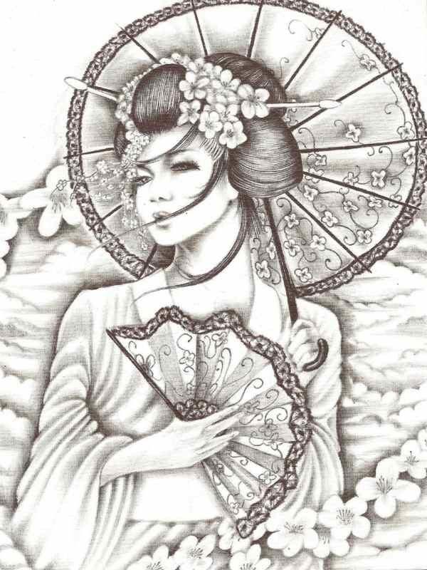 Geisha tattoo outline