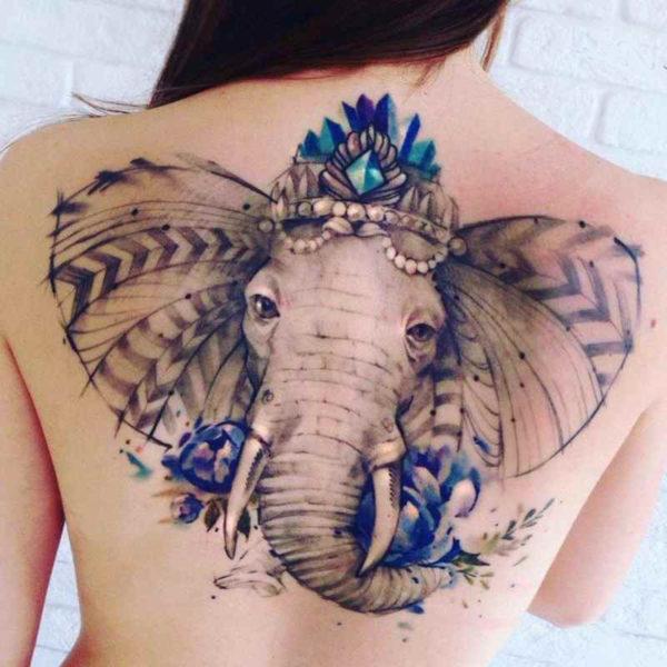 Girls back elephant cool tattoo