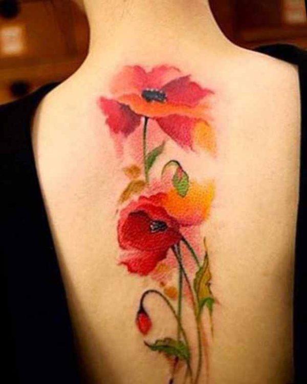 Girls back flower tattoo