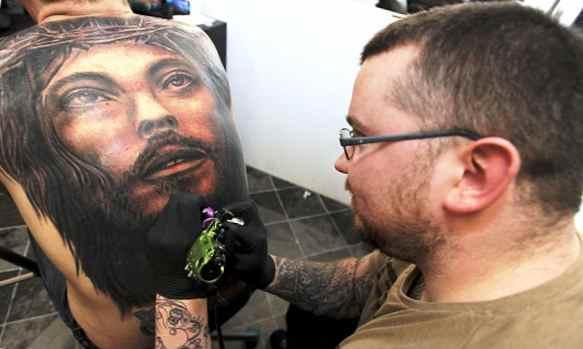 Jesus tattoo in progress