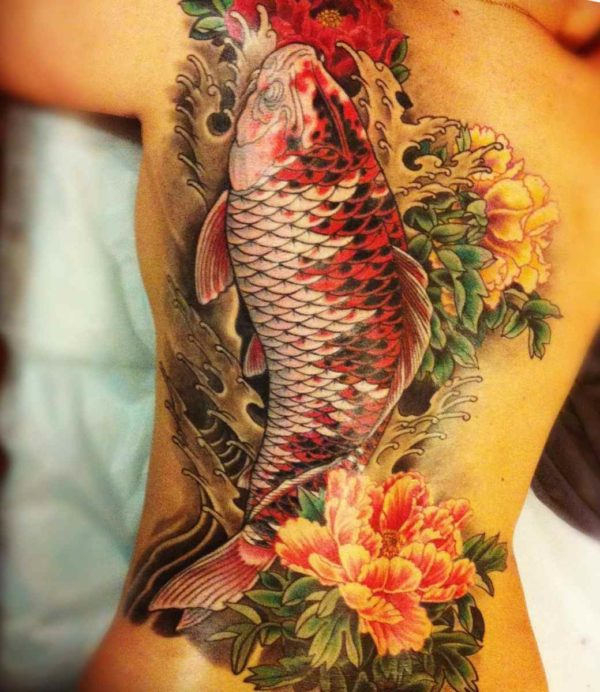 Full back koi fish tattoo