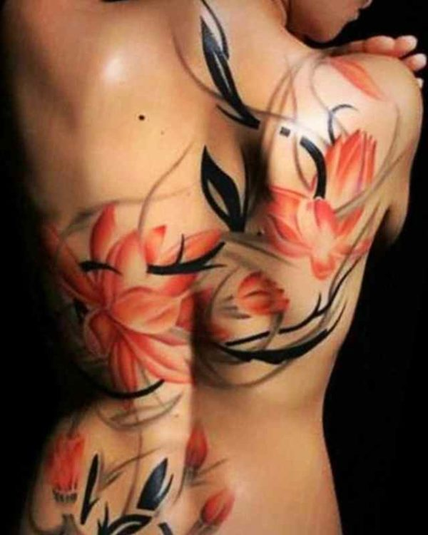 Lotus flower girls back tattoo