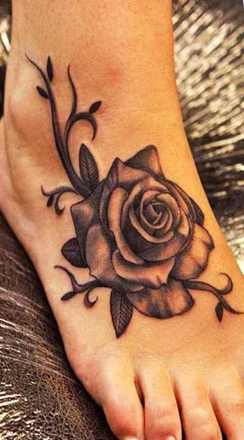 Foot black rose tattoo