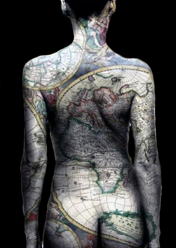 Girls map amazing full body tattoo