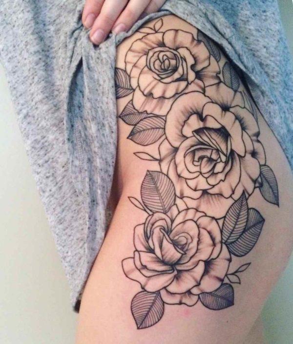 Simple legs rose tattoo