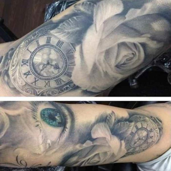 Stunning blue eyes and watch with rose tattoo